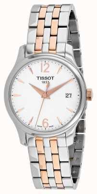Tissot Womens-traditie rosé vergulde roestvrij stalen armband T0632102203701