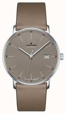 Junghans Vorm een automatisch horloge met bruine leren band 027/4832.00