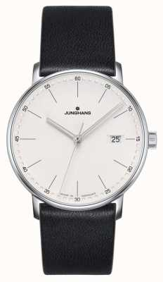Junghans Vorm quartz zwart lederen horloge 041/4884.00