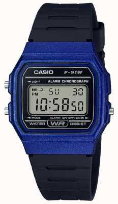 Casio Alarm chronograaf blauwe en zwarte behuizing F-91WM-2AEF