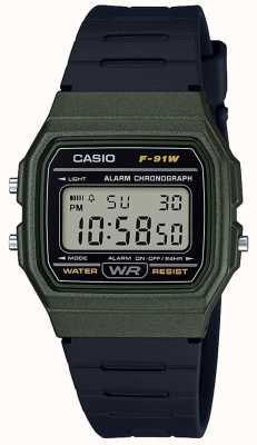 Casio Alarm chronograaf blauwe en zwarte behuizing F-91WM-3AEF