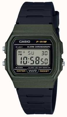 Casio Alarm chronograaf groen & zwart koffer F-91WM-3AEF