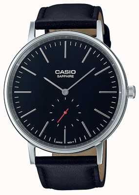 Casio Saffierkristal zwarte lederen band LTP-E148L-1AEF