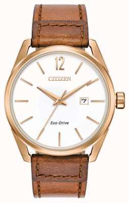 Citizen Witte wijzerplaat datumaanduiding herenhorloge met roségouden tan BM7413-02A