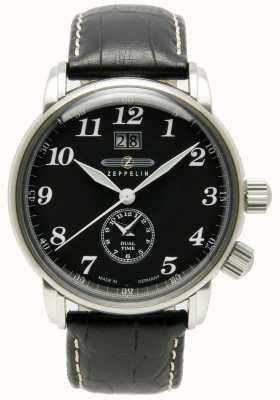 Zeppelin Tel dubbele tijd grote datumweergave zwart wijzerplaat zwart leer 7644-2