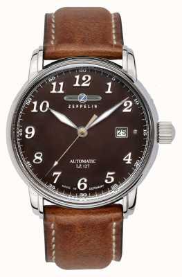 Zeppelin | serie lz127 | automatische datum | bruine lederen band | 8656-3