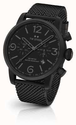 TW Steel Maverick caliber chronograaf zwart mesh armband zwarte wijzerplaat MB33