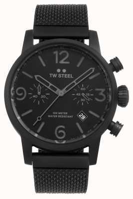 TW Steel Maverick kaliber chronograaf zwarte mesh armband zwarte wijzerplaat MB33