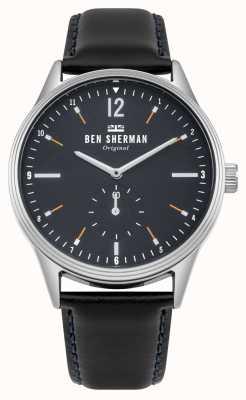 Ben Sherman Mat-marineblauwe wijzerplaat en zwarte leren riem WB015UB