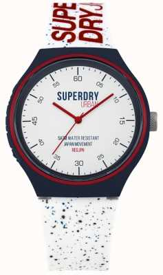 Superdry Urban xl blue fleck witte siliconen band SYG227W