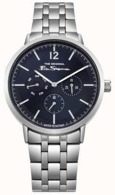 Ben Sherman Blauwe wijzerplaat met dag en dag weergave roestvrijstalen armband BS011USM