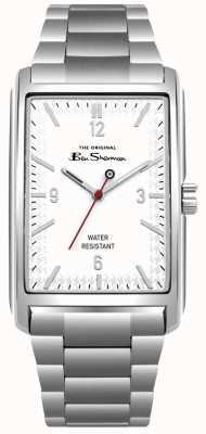 Ben Sherman Witte rechthoekige roestvrijstalen kast en armband BS013WSM