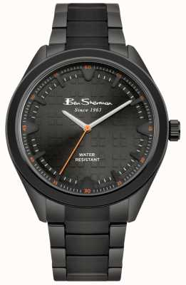 Ben Sherman Zwarte wijzerplaat zwarte IP-gecoate roestvrijstalen kast en armband BS005BBM