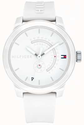 Tommy Hilfiger Witte denim dag & datum display rubberen band 1791481