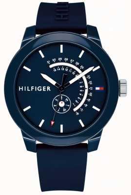 Tommy Hilfiger Blue denim dag & datum display blauwe rubberen band 1791482