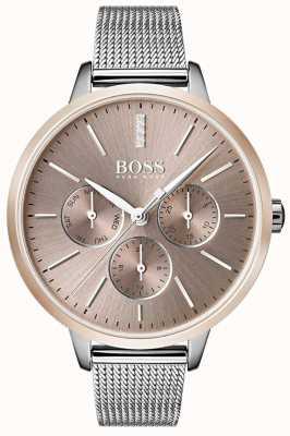 BOSS Zwarte symfonie dag- en datumweergave roségouden horlogeband van mesh 1502423