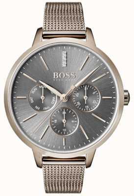 Boss Symfonie grijze wijzerplaat voor dag en datum mesh 1502424