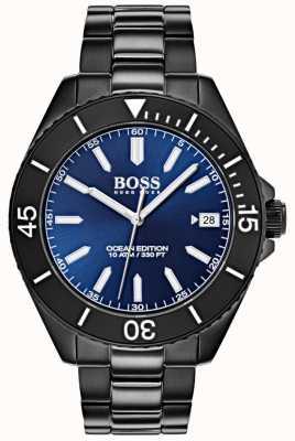Hugo Boss Ocean edition blauwe wijzerplaat datumweergave zwarte ip-armband 1513559