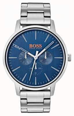 Hugo Boss Orange Blauwe wijzerplaat met dag en dag weergave roestvrijstalen armband 1550067