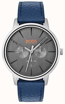Hugo Boss Orange Grijze wijzerplaat dag en datum sub wijzerplaat blauw lederen band 1550066