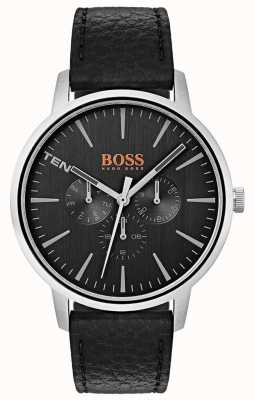 Hugo Boss Orange Zwarte wijzerplaat dag en datum sub wijzerplaten zwart lederen band 1550065