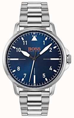 Hugo Boss Orange Blauwe wijzerplaat roestvrij stalen armband 1550063