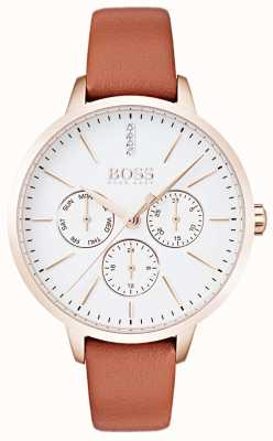Hugo Boss Witte wijzerplaat dag en datum display rose goud case tan leer 1502420