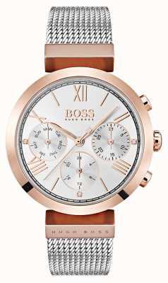 Hugo Boss Zilveren wijzerplaat met datum- en datumaanduiding met Romeinse cijfers in mesh armband 1502427