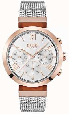 Boss Zilveren wijzerplaat met dag- en datumaanduiding met Romeinse cijfers in mesh-armband 1502427
