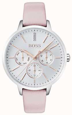 BOSS Zilveren wijzerplaat met dag en datum sub wijzerplaat kristal gezet roze leer 1502419
