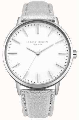 Daisy Dixon Dames harper witte wijzerplaat zilveren kast zilveren lederen band DD061SS