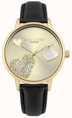Daisy Dixon Dames hollie gouden kast kristal gezet hartjes DD076BG