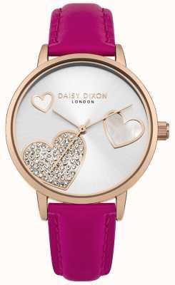 Daisy Dixon Dames hollie rosé gouden kast kristal gezet harten zilveren wijzerplaat DD076PRG