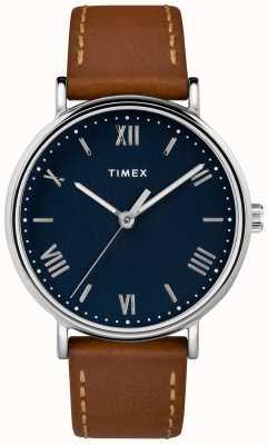 Timex Heren southview 41mm tan lederen band blauwe wijzerplaat TW2R63900D7PF