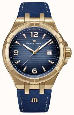 Maurice Lacroix Mens aikon limited edition bronskleurige blauwe kalfsriem AI1028-BRZ01-420-1