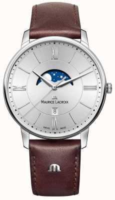 Maurice Lacroix Heren eliros maanfasering bruine lederen band zilveren wijzerplaat EL1108-SS001-110-1