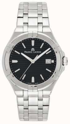 Maurice Lacroix Heren aikon roestvrij stalen armband zwarte wijzerplaat AI1008-SS002-331-1