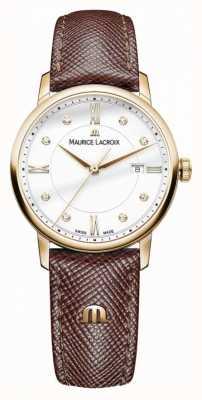 Maurice Lacroix Dames eliros bruin lederen band met vergulde kast EL1094-PVP01-150-1