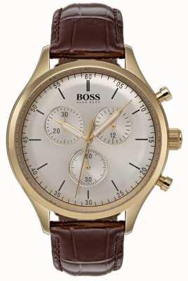 Hugo Boss Heren metgezel chronograaf horloge bruin lederen band 1513545