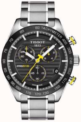 Tissot Mens prs 516 chronograaf zwarte wijzerplaat roestvrij stalen armband T1004171105100