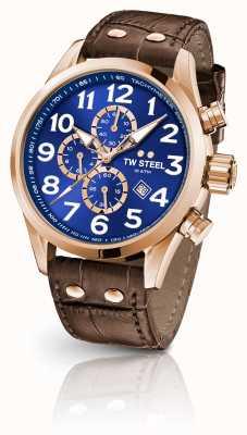 TW Steel Volante 45mm chronograaf bruine lederen band blauwe wijzerplaat VS83