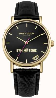 Daisy Dixon Dames gym & tonic blaire zwarte lederen band zwarte wijzerplaat DD079BG