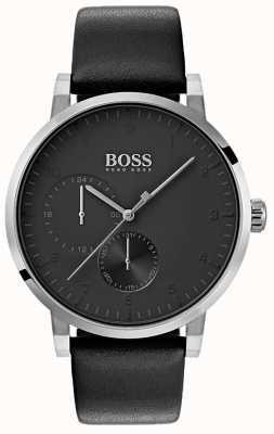 Boss Mens zuurstof volledig zwart horloge lederen band sunray wijzerplaat 1513594