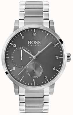 Boss Mens zuurstof grijs horloge roestvrij staal armband sunray wijzerplaat 1513596