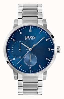 Hugo Boss Mens zuurstofblauw horloge roestvrij stalen armband sunray wijzerplaat 1513597