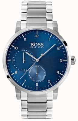 Boss Mens zuurstofblauw horloge roestvrij stalen armband sunray wijzerplaat 1513597