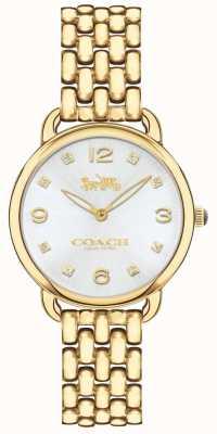 Coach Womens delancey slanke gouden toon armband horloge zilveren wijzerplaat 14502782