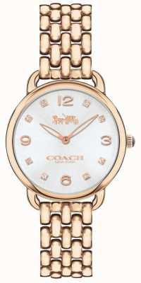 Coach Womens delancey slank rose tone armband horloge zilveren wijzerplaat 14502783