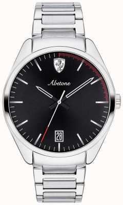 Scuderia Ferrari Heren abetone roestvrij stalen armband horloge zwarte wijzerplaat 0830502