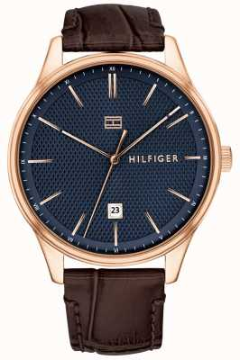 Tommy Hilfiger Heren damon watch bruin lederen band blauwe wijzerplaat 1791493